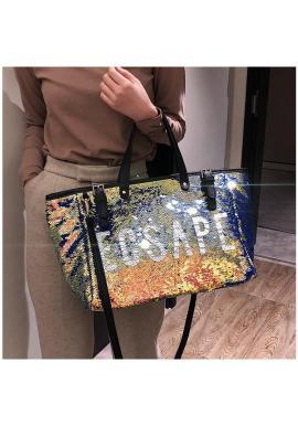 Flitrová dámska taška s nápisom ESCAPE