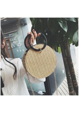 Dámska módna kabelka s drevenými úchytmi v hnedej farbe