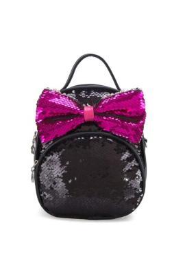 Štýlový ruksak čiernej farby s dekoračným viazaním