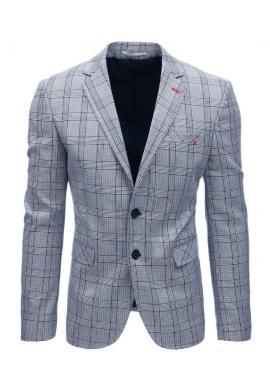 Pánske jednoradové sako s kockovaným vzorom v hnedej farbe