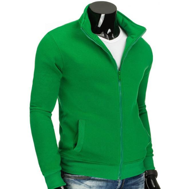Pánska zelená mikina bez kapucne