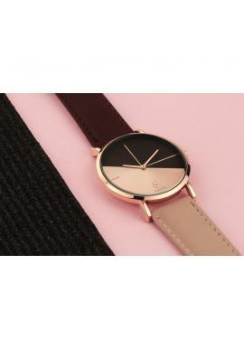 Tmavoružové elegantné hodinky s čiernym ciferníkom pre dámy