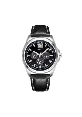 Hnedé hodinky Yazole s čiernym ciferníkom pre pánov