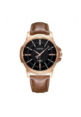 Čierne pánske hodinky Yazole na koženom remienku