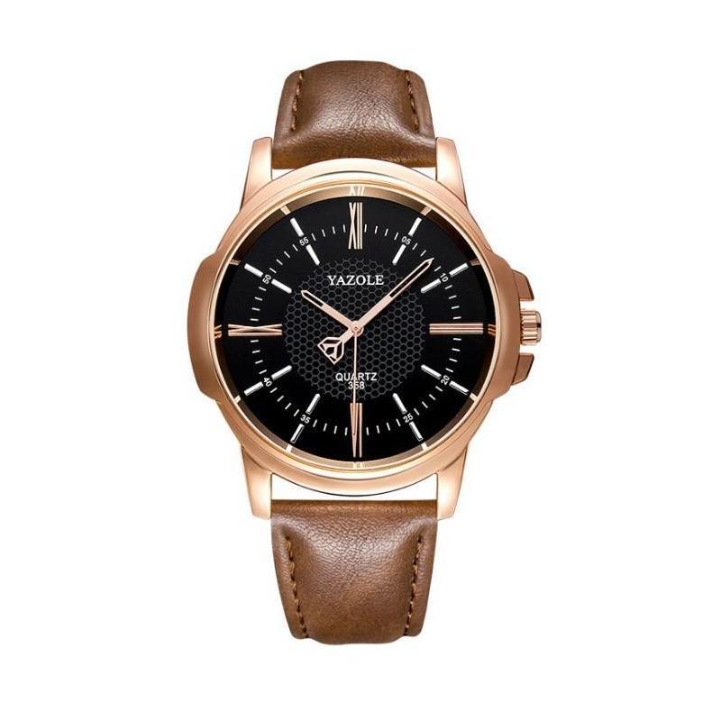 6594216c8 Pánske hnedé hodinky Yazole s čiernym ciferníkom - skvelamoda.sk