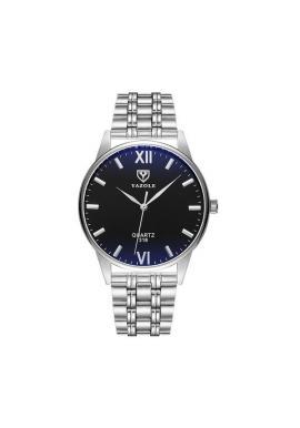 Strieborné hodinky Yazole s čiernym ciferníkom pre pánov
