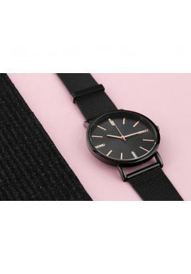 ad45ae648 ... Čierne elegantné hodinky s ružovo-zlatým ciferníkom pre dámy