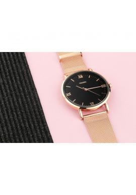 Čierne elegantné hodinky s ružovo-zlatým ciferníkom pre dámy
