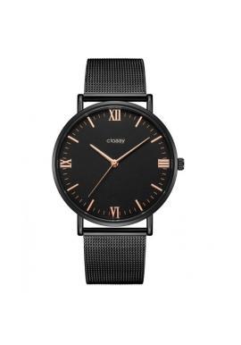 Ružovo-zlaté elegantné hodinky s čiernym ciferníkom pre dámy