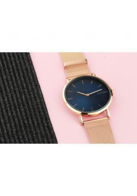 Dámske módne hodinky s bielym ciferníkom v ružovo-zlatej farbe