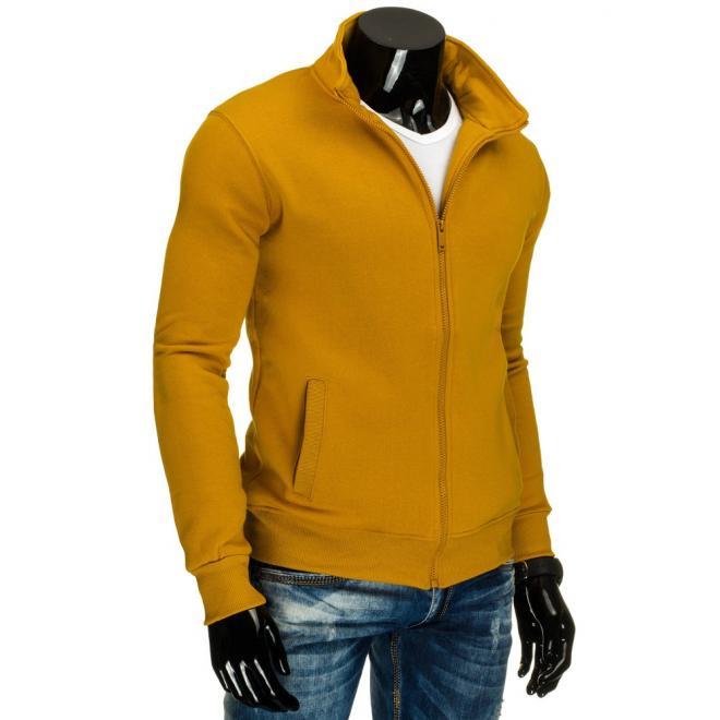 Žltá mikina pre pánov bez kapucne
