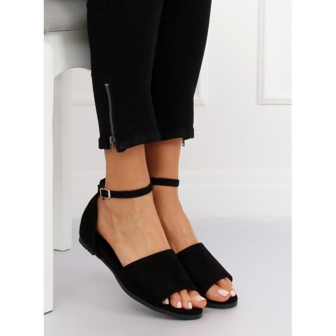 9d030769e282 Semišové dámske sandále čiernej farby so zapínaním okolo členku ...