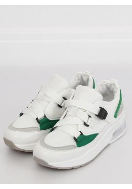 Dámske športové tenisky s metalickými vložkami v zelenej farbe