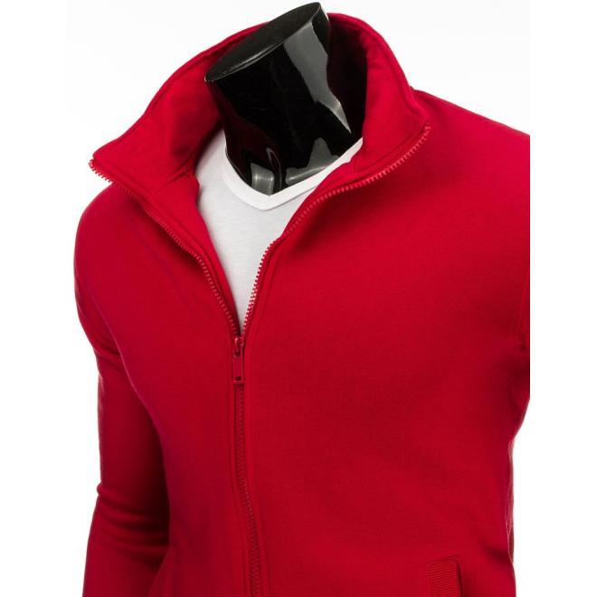 Mikina bez kapucne v červenej farbe pre pánov