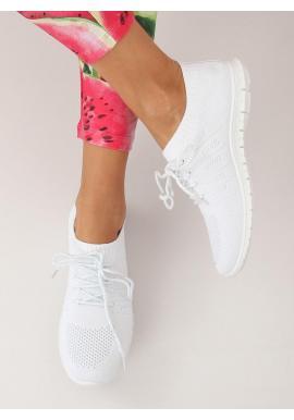 Športové dámske tenisky bielej farby s farebnými doplnkami