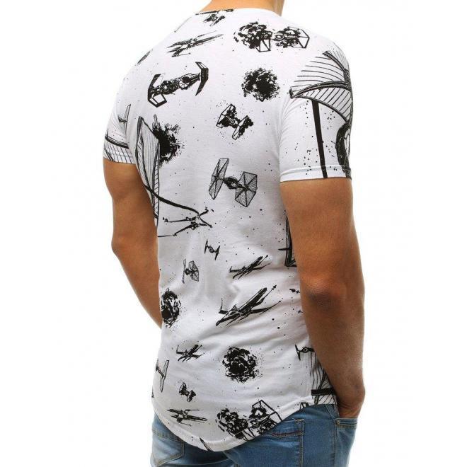 Štýlové pánske tričko bielej farby s potlačou