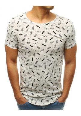 Biele bavlnené tričko s potlačou pre pánov