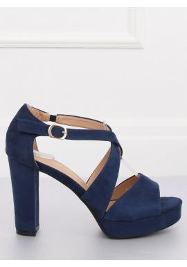 b4910f89a Dámske semišové sandále na stabilnom opätku v tmavomodrej farbe ...