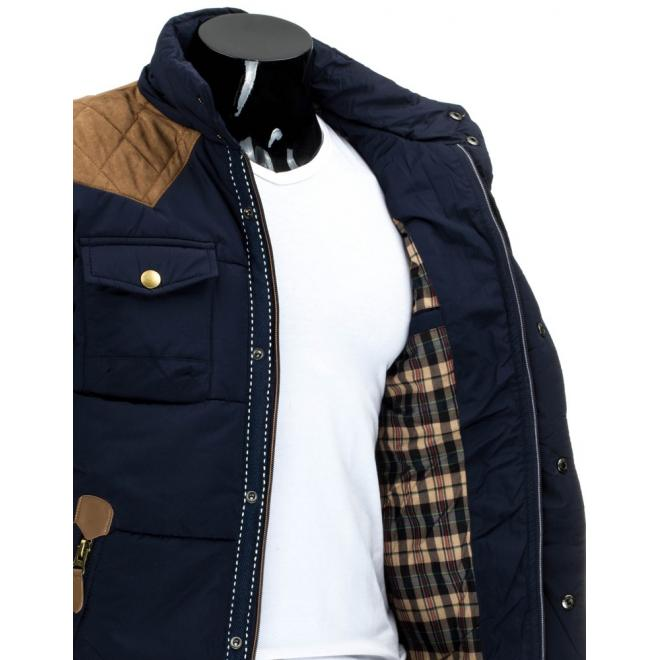 Zimná prešívaná bunda pre pánov v čiernej farbe
