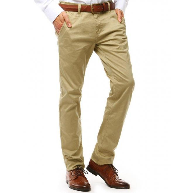 Elegantné pánske nohavice Chinos béžovej farby