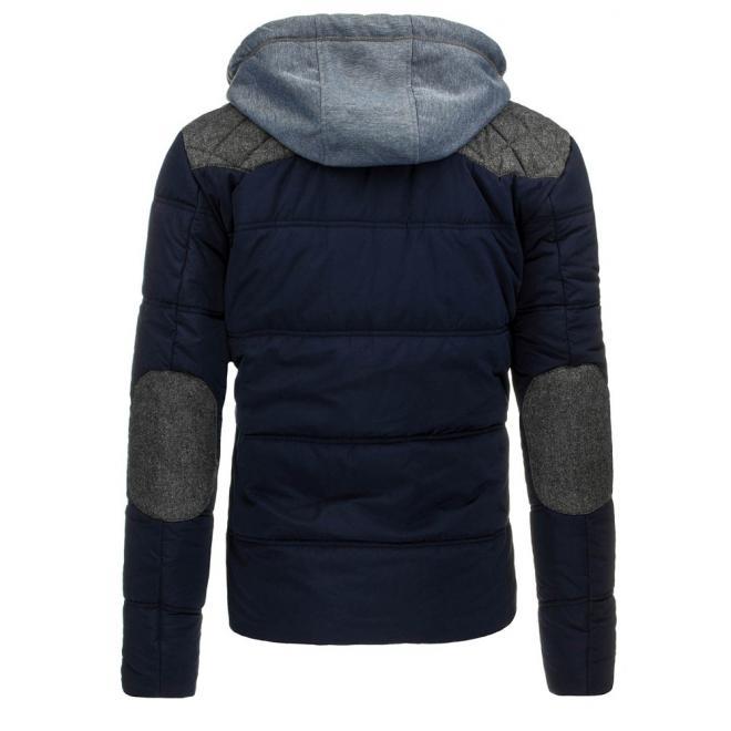 Čierna pánska bunda na zimu s regulovatelným pásom