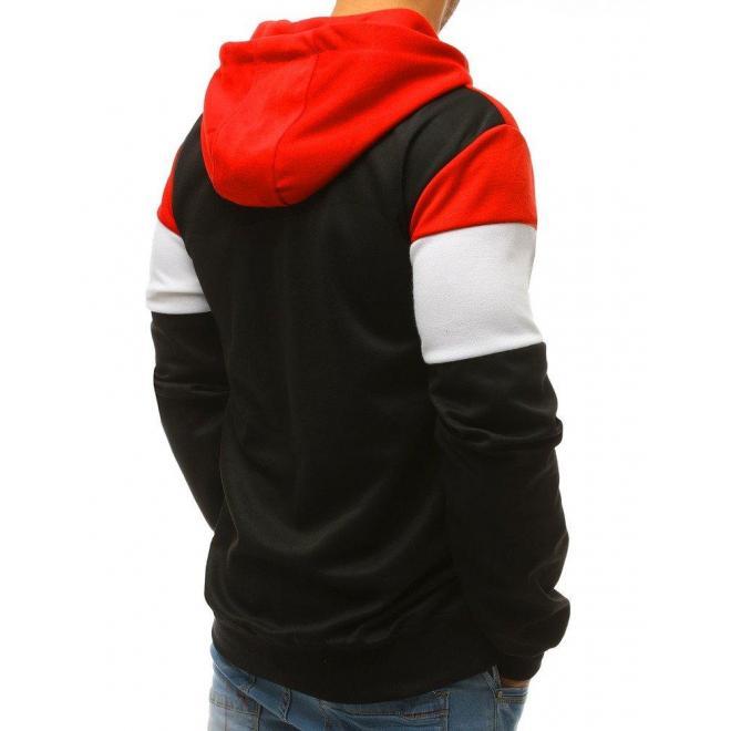 Športová pánska mikina tmavomodrej farby s pásmi na rukávoch