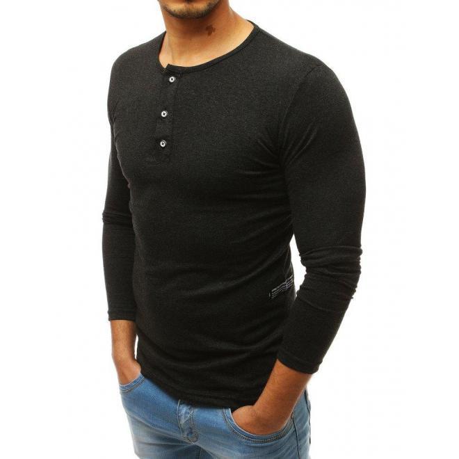 1b176966e Klasické pánske tričko tmavosivej farby s dlhým rukávom - skvelamoda.sk