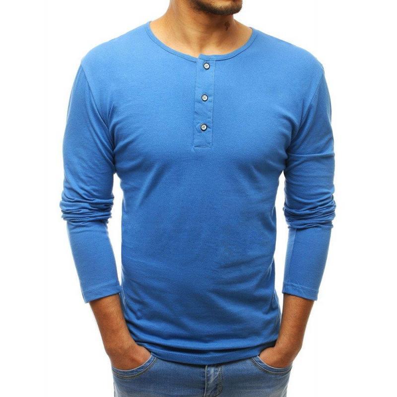 28e13f70c Pánske klasické tričko s dlhým rukávom v modrej farbe - skvelamoda.sk
