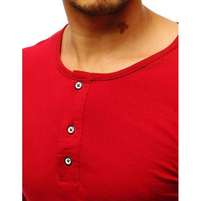 Bordové klasické tričko s dlhým rukávom pre pánov