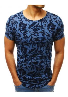 Modré bavlnené tričko s potlačou pre pánov