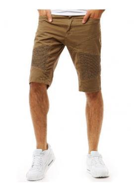 Sivé módne šortky s prešívaním pre pánov