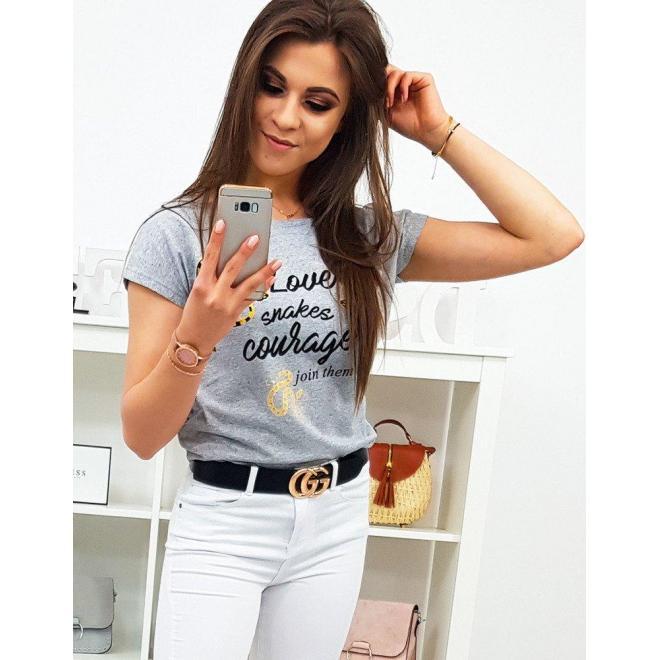 Dámske bavlnené tričko s potlačou v modrej farbe