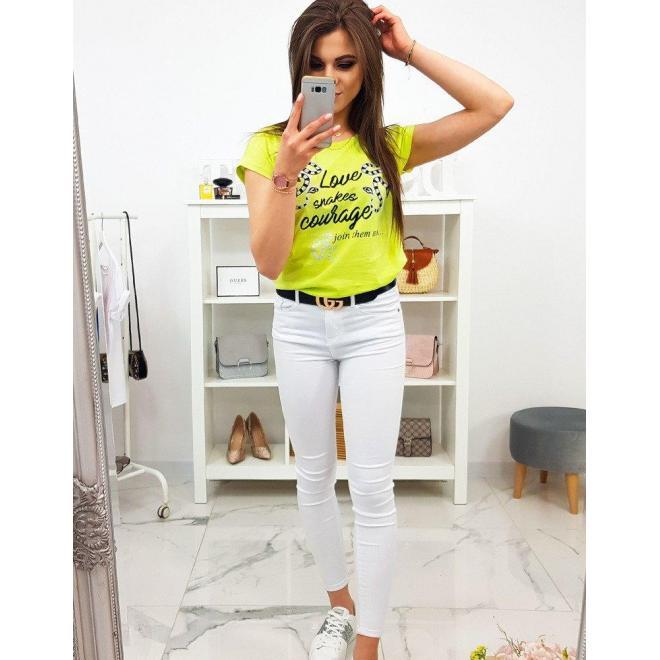 Bavlnené dámske tričko svetlosivej farby s potlačou