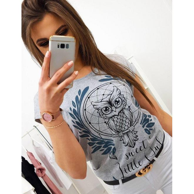 Dámske štýlové tričko s potlačou v modrej farbe