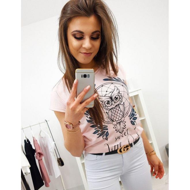 Dámske štýlové tričko s potlačou v svetlosivej farbe