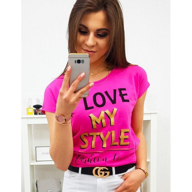 Pastelovo ružové módne tričko s potlačou pre dámy