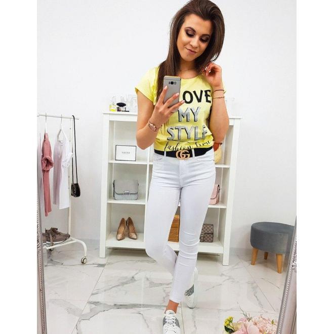 Dámske módne tričko s potlačou v malinovej farbe