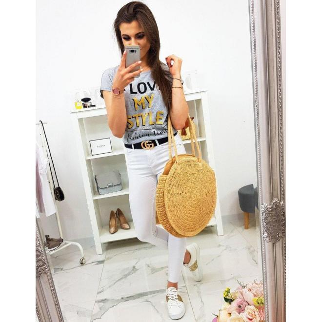 Dámske módne tričko s potlačou v žltej farbe
