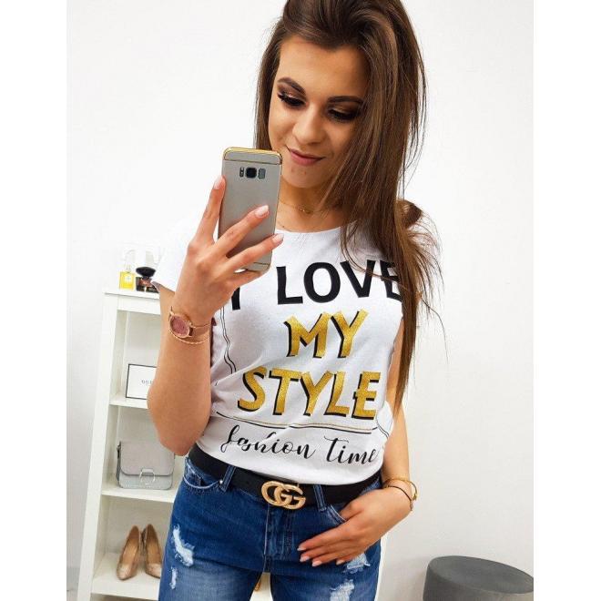 Módne dámske tričko smotanovej farby s potlačou