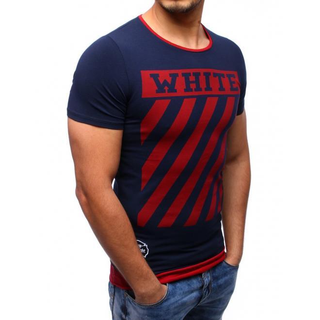 Čierne bavlnené tričko s bielou potlačou pre pánov