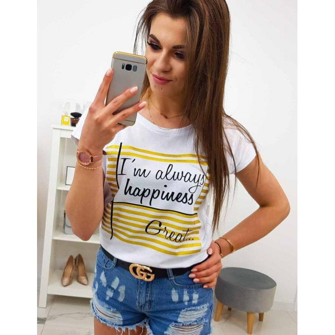 Dámske bavlnené tričko s potlačou v smotanovej farbe
