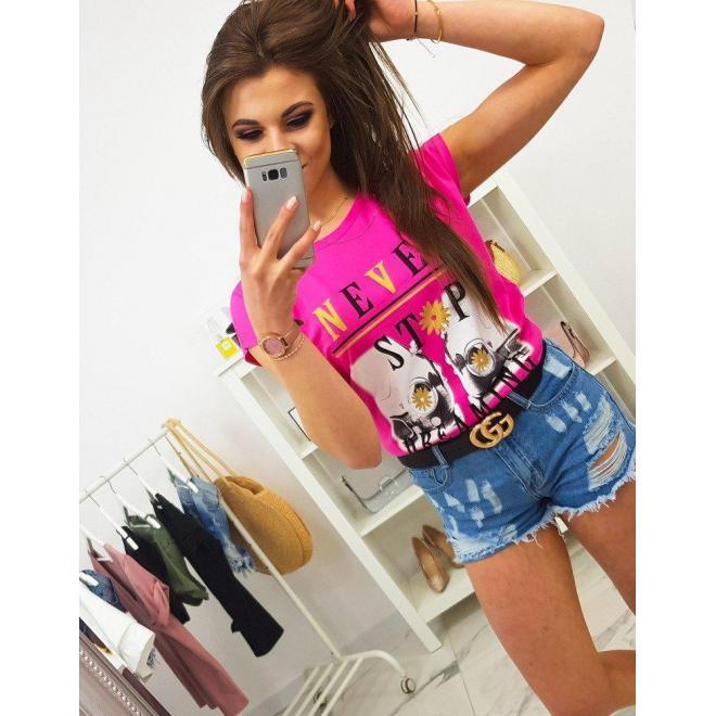 Dámske štýlové tričko s potlačou v ružovej farbe