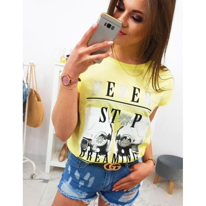 Štýlové dámske tričko limetkovej farby s potlačou