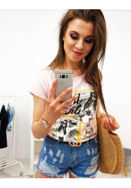 Malinové módne tričko s potlačou pre dámy