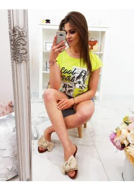 Dámske módne tričko s potlačou v smotanovej farbe
