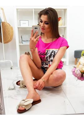 Dámske módne tričko s potlačou v limetkovej farbe