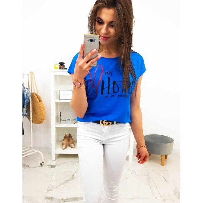 Dámske bavlnené tričko s potlačou v malinovej farbe