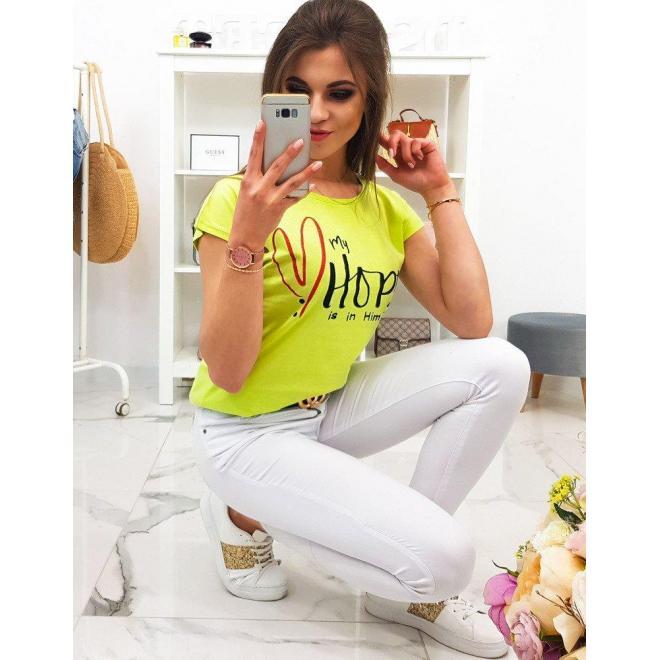 Smotanové bavlnené tričko s potlačou pre dámy
