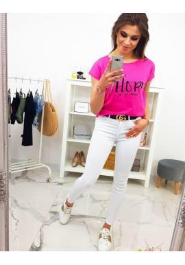 Limetkové bavlnené tričko s potlačou pre dámy
