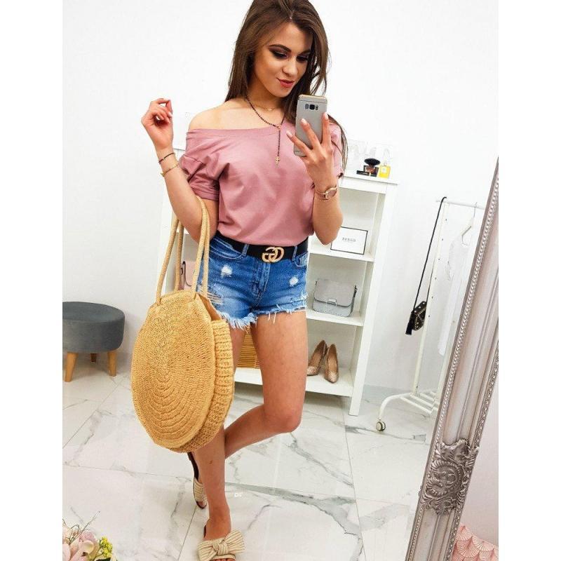 1ef55aaff841 Dámske klasické tričko s krátkym rukávom v ružovej farbe. Novinka. Dámske  bavlnené tričko s potlačou v pastelovo ružovej farbe